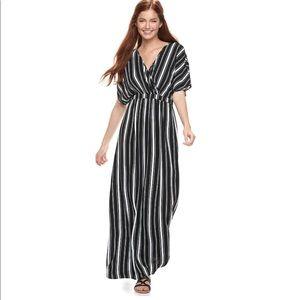 Love Fire | black white stripe kimono sleeve dress